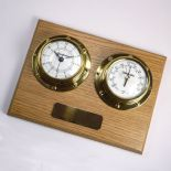 Clock Barometer, Small Marine Style Wall Mounted, Personalised, Oak ref CB03